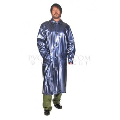 PVC pánský dlouhý kabát se zapínáním na knoflíky