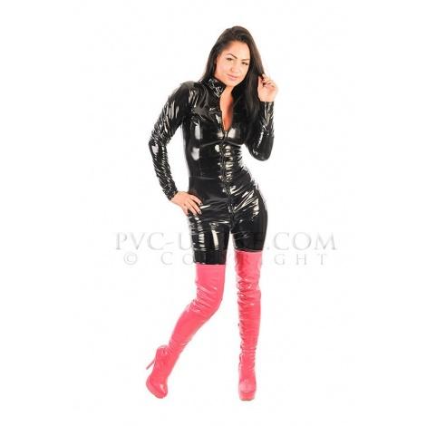 PVC dámský catsuit se stojáčkem a předním zipem v barvě černé