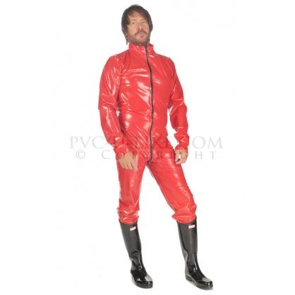 PVC pánský catsuit s předním zipem a stojáčkem  - fialový