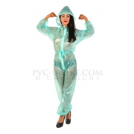 PVC catsuit v barvě zelené (lékařská) s kapucí a s dlouhým rukávem