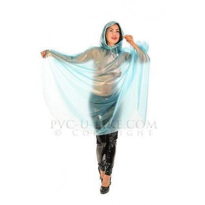 PVC modré průhledné pončo
