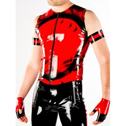Latexová vesta dvoubarevná se zipem - černočervená
