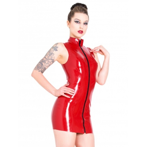 Latexové dámské šaty se stojáčkem a předním zipem červené