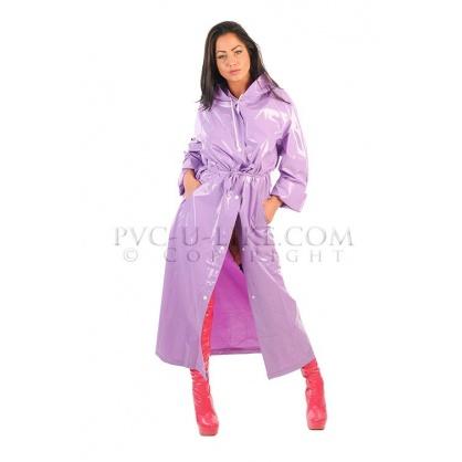 PVC dlouhý kabát s kapucí v barvě Lilac shiny