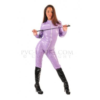 Dámský PVC catsuit s předním zipem a stojáčkem - barva čirá modrá s potiskem