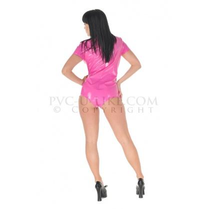 PVC dámské body s krátkým rukávem v barvě starorůžové