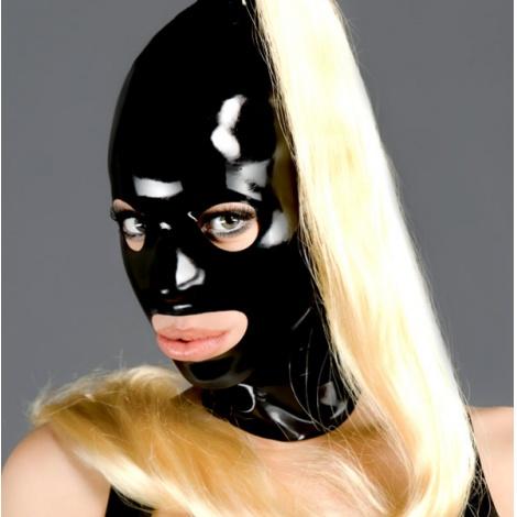 Černá latexová maska s otevřenými všemi otvory a blond ohonem