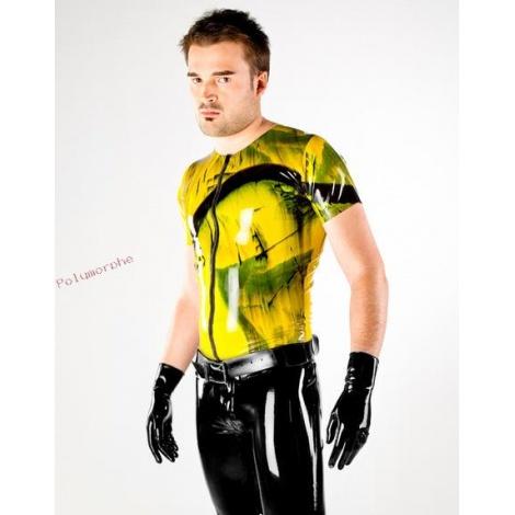 Latexové tričko dvoubarevné se zipem a krátkým rukávem - černostříbrné
