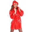 PVC dámský kabát s velkým límcem - červený