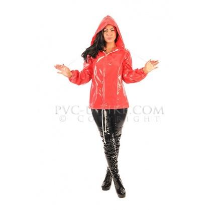 PVC dámská bunda se stahovací kapucí - červená