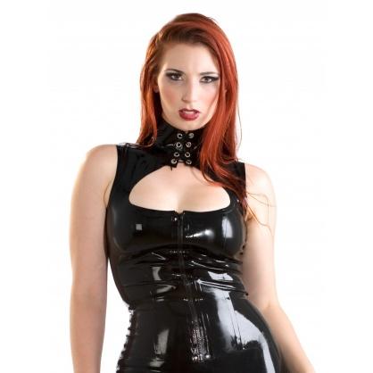 Černý latexový top s předním zipem