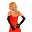 Latexové černé dlouhé rukavice se zipem