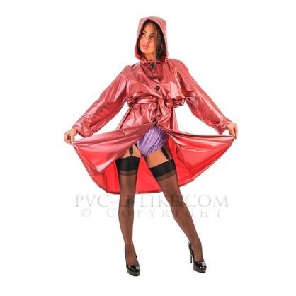 PVC kabát středně dlouhý s kapucí a rozšířenou sukní - Modrý