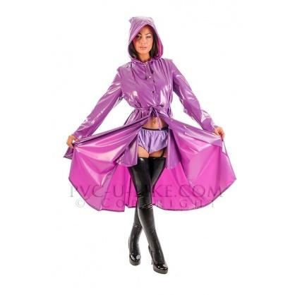 PVC dlouhý kabát s kapucí a předním zapínáním - Violet pearl