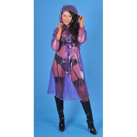 PVC kabát středně dlouhý s kapucí a rozšířenou sukní - Perleťová růžová