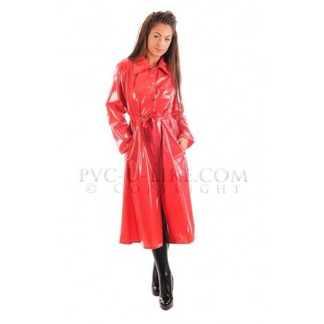 PVC dlouhý kabát s kapucí a předním zapínáním - RED