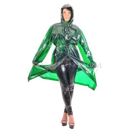 PVC dlouhý kabát s kapucí v barvě transparentní zelená