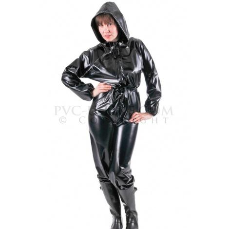 PVC catsuit s dlouhým rukávem předním zipem a připojenou kapucí