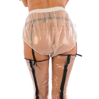 PVC plenkové kalhotky se zpevněným okrajem a širší gumou v pase - bílá transparent