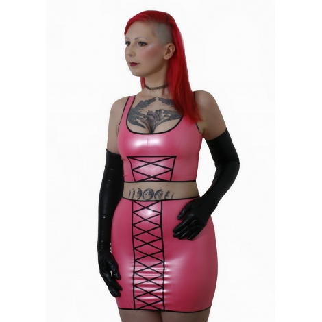 Růžové dvoudílné latexové šaty