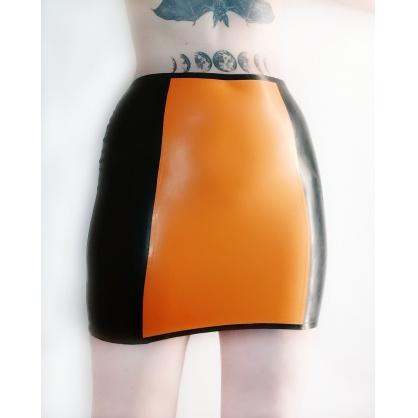 Latexová dámská sukně černooranžová
