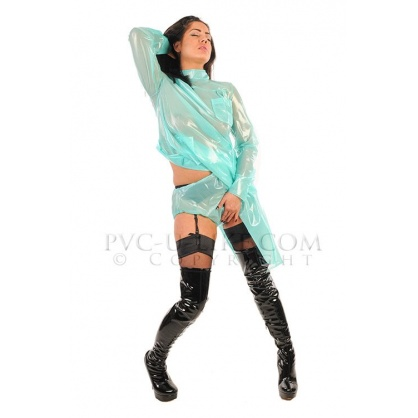 PVC lékařské šaty se zadním zapínáním na knoflíky bíla