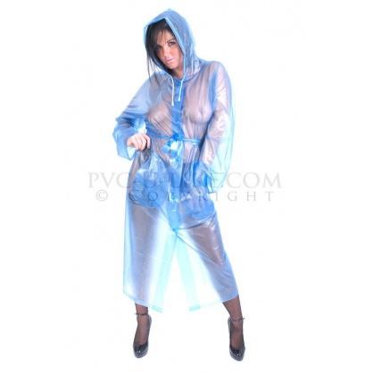 PVC dlouhý kabát s kapucí - transparentní modrá