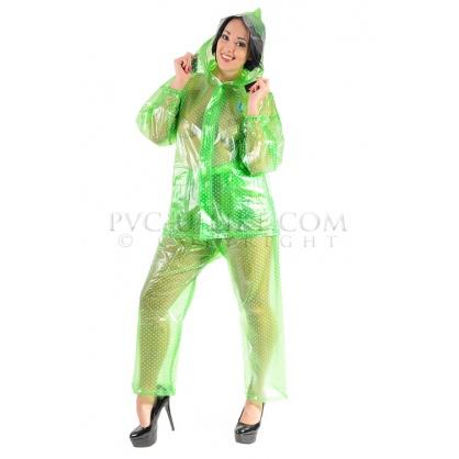 PVC dvojdílný rainsuit s kapucí v zelené barvě