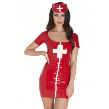 Latexová uniforma sestřičky s čepcem
