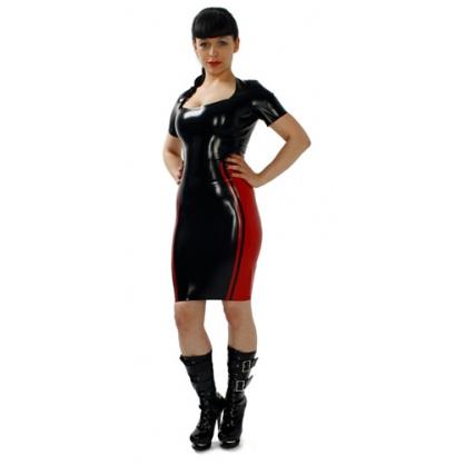 Latexová dámská sukně s barevnou vsadkou a vyšším pasem
