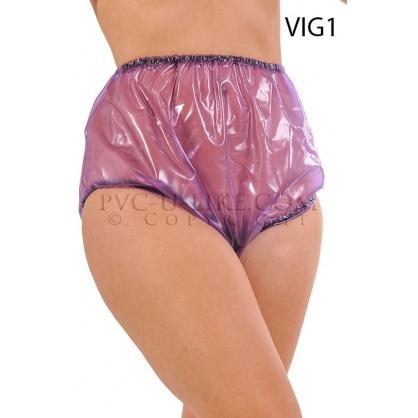 PVC kalhotky s pružnými lemy v pase a nohavičkách - průhledné fialové