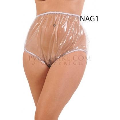 PVC kalhotky s pružnými lemy v pase a nohavičkách -čirý průhledný