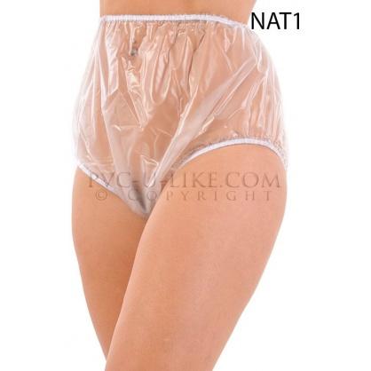 PVC kalhotky s pružnými lemy v pase a nohavičkách -čirý transparentní
