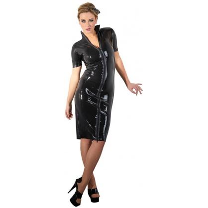 Latexové šaty po kolena s předním zipem