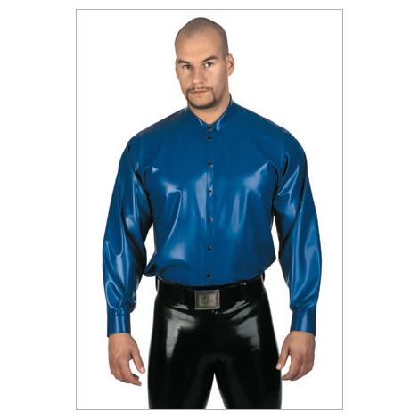 Latexová přiléhavá košile s dlouhým rukávem - PEARLSHEEN BLUE BLACKSTYLE
