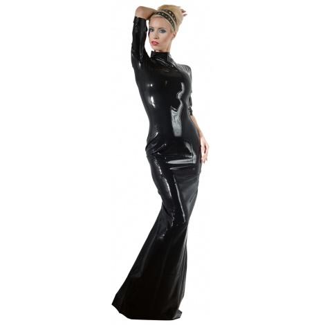 Latexové dlouhé dámské šaty s polovičním rukávem