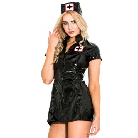 Laková dámská černá uniforma pro sestřičku s předním zipem