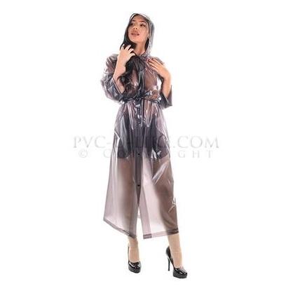 PVC dlouhý kabát s kapucí BLACK SEMITRANSPARENT