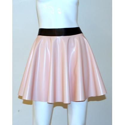 Latexová kolová dámská sukně - baby pink