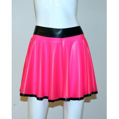 Latexová kolová dámská sukně - electric pink