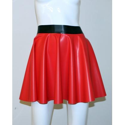Latexová kolová dámská sukně - ČERVENÁ