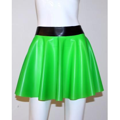 Latexová kolová dámská sukně - neon green