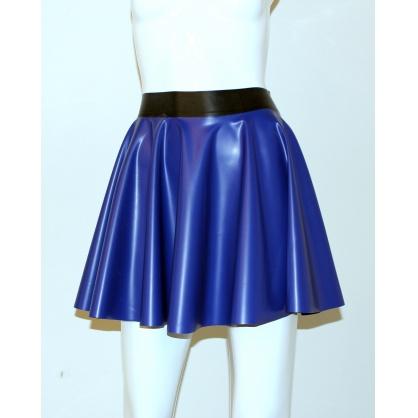 Latexová kolová dámská sukně - modrá