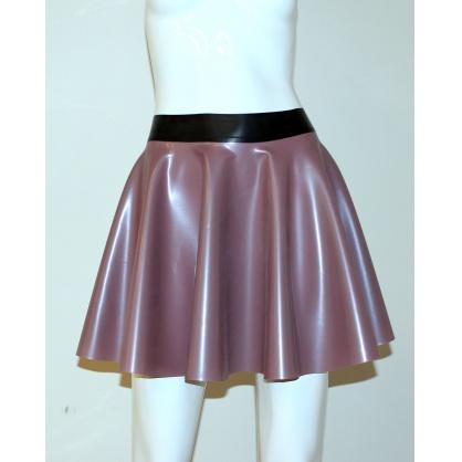 Latexová kolová dámská sukně - pearl violet