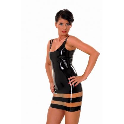 Latexové dámské šaty bez rukávů kombinace černá/transparentní