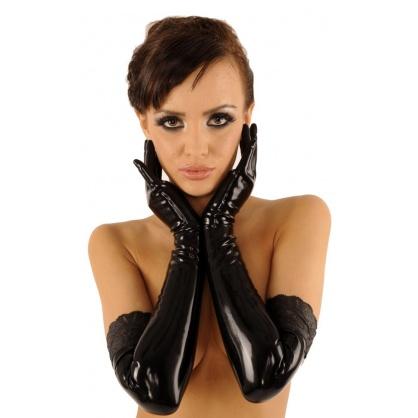 Latexové černé dlouhé rukavice s krajkou