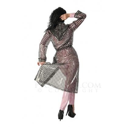 PVC dlouhý kabát s kapucí čirá transparetní s černými proužky
