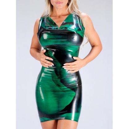 Latexové šaty - Oceanblue/black  POLYMORPHE