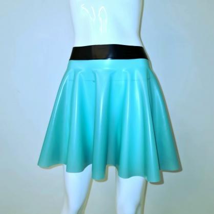 Latexová kolová dámská sukně - medical green