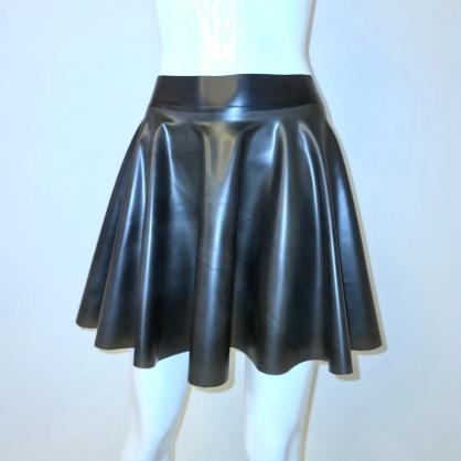 Latexová kolová dámská sukně - black semitransparent